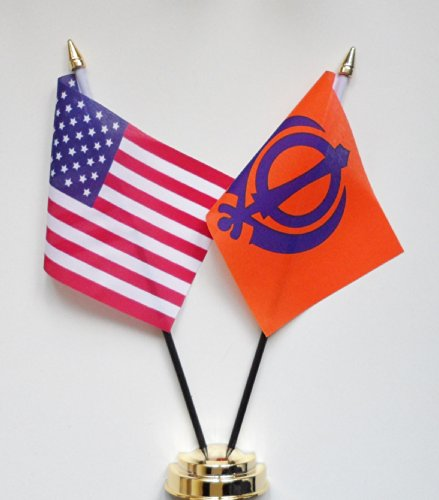 1000 Flags Khanda Sikhe et des États-Unis d'amitié Drapeau de table écran 25 cm (25,4 cm) S
