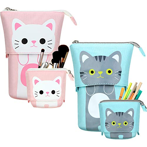 2 Pieces Transformer Stand Store Pencil Holder Canvas PU Cartoon Cute Cat Telescopic Pencil Organizer Cosmetics Pouch Makeup Bag Stationery Pen Case Box with Zipper for Students (Gray and White)