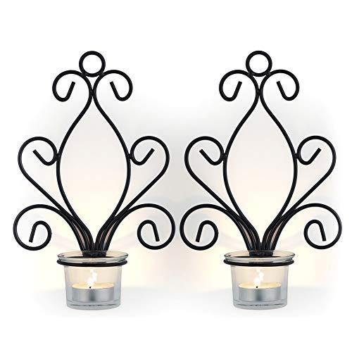 Sziqiqi 2 Stück Kerzenhalter Wand Schwarz Metall Teelichthalter Kreative Deko, Kerzenständer, Schwarz