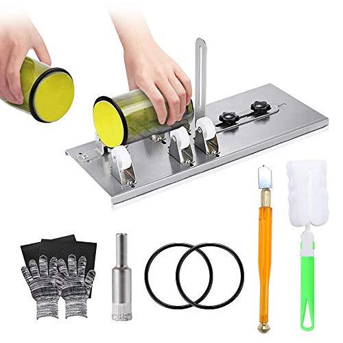 Gobesty Kit de cortador de botellas de vidrio, juego de máquina de corte de botellas de acero inoxidable, kit de herramientas de corte de vidrio ajustable de cuello a cuerpo