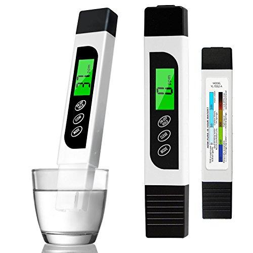 YAMI Testeur de qualité de l'eau, précis Compteur TDS EC mètre et Stylo de Test de température avec LCD rétro-éclairé pour l'eau Potable,...