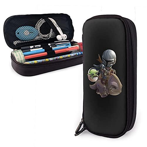 Estuche de piel sintética para lápices de bebé Yoda de gran capacidad, bolsa de papelería, bolsa de almacenamiento, bolsa de maquillaje con cremallera marrón para la escuela, trabajo y oficina