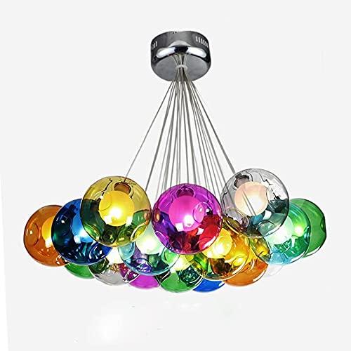 Z-LIANG Chandelier Colorful Hanging Glass Chandelier Light G4 Led Suspension Pendant Lamp Living Room Droplights Modern Glass Ball Light Lamp (Emitting Color : Warm White)