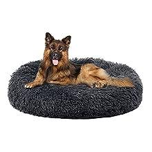 Annety Cama Perros Redonda cojín Gatos sofá para Perros Donut (X-Large, Gris Oscuro)