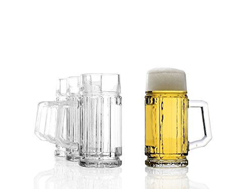 Stölzle Oberglas Gambrinus Bierkrug 0,125l l Mini-Bierkrug I 4 Stück als Set I Bierkrug mit Henkel I Traditionelles Bierglas I spülmaschinenfest I hochwertige Krüge I bruchsicher