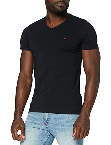 Tommy Hilfiger Herren CORE Stretch Slim Vneck Tee T-Shirt, Schwarz (Flag Black 083), Large