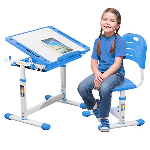 Height Adjustable Multifunctional Children's Study Desk Table Chair Set with Drawer for Kids