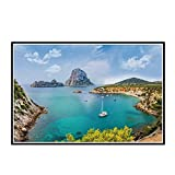 DOAQTE Ibiza Seascape Sea Nature Poster Decoración de la habitación Impresiones en Lienzo Póster Arte de la Pared Decoración Impresiones en Lienzo -20X32 Pulgadas Sin Marco 1 Uds