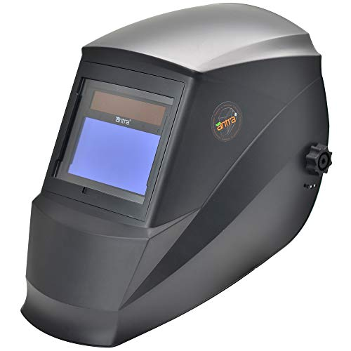 Antra AH7-360-0000 Auto Darkening Welding Helmet, Variable Shade 4/5-9/9-13, Great for TIG, MIG/MAG, MMA, Plasma, Grinding, Solar-Lithium Dual Power, 6+1 Extra lens covers