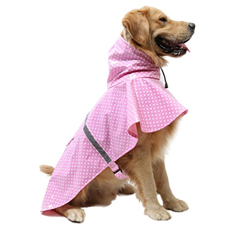 Fashion Dots Puppy Dog Raincoat Pet Adjustable Reflective Design Waterproof Rainwear Dress in Rainy Day Pink M