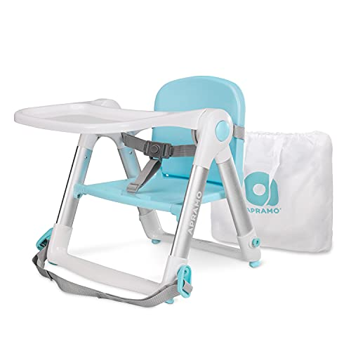 APRAMO FLIPPA Baby Booster Seat for Dining Folding Portable Infant Feeding Chair with Tray and Seat Belt (Turquoise)