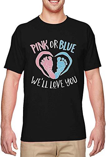 Pink Or Blue We'll Love You Gender Reveal Men's T-Shirt,Black,Large