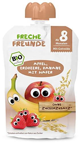 Freche Freunde Bio Beikost-Quetschie Apfel, Erdbeere, Banane mit Hafer, Babynahrung ab dem 8. Monat, veagn, 6er Pack (6x100g)