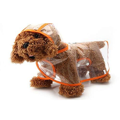 Ducomi Dogalize regenjas met capuchon van transparant nylon voor honden - regenjas model poncho voor honden (oranje, L)