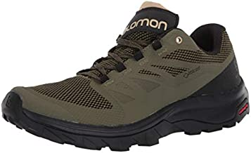 Salomon mens Outline Gtx Hiking, Burnt Olive/Black/Safari, 10.5 US