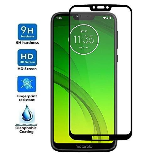 REY Protector de Pantalla 3D para Motorola Moto G7 Power, Negro, Protección Completa, 3D / 4D / 5D