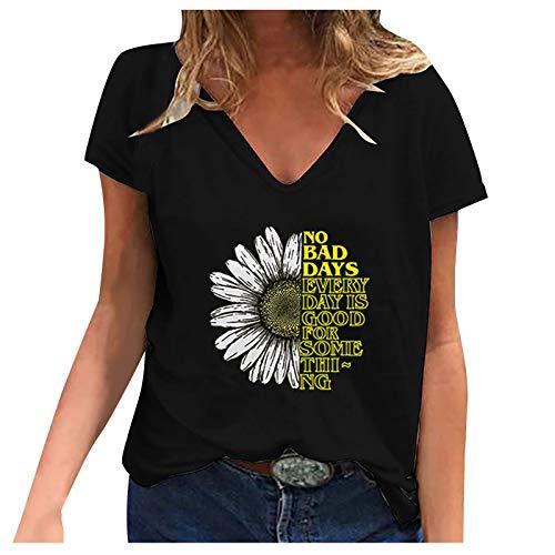 SNKSDGM Tops für Damen Damen Casual Fashion Sommer T-Shirt mit V-Ausschnitt Bedruckt Kurzarm Oberteile Schwarz 02