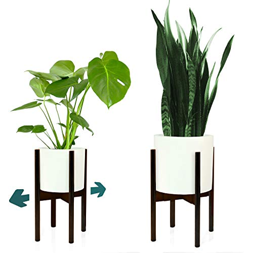 Fox & Fern Adjustable Plant Stand - Excluding White Ceramic Planter Pot (Fits All pots Between 8 and 12, Dark Bamboo)