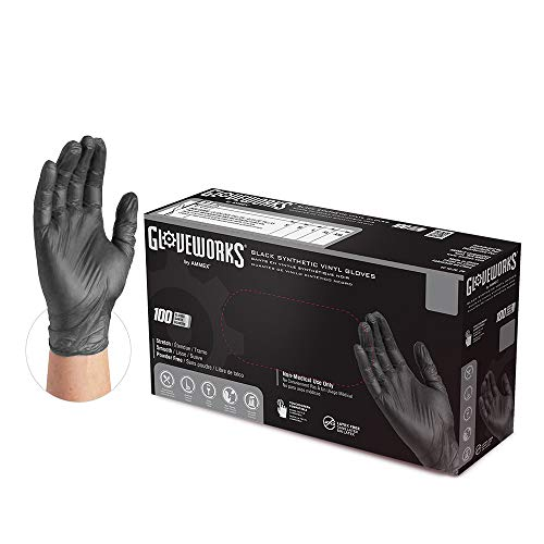Guantes Latex Negros  marca GLOVEWORKS