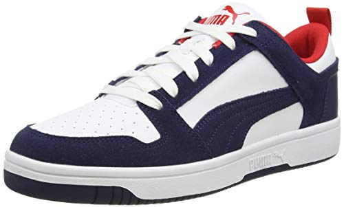 PUMA Unisex Rebound Layup Lo SD Sneaker, White-Peacoat-High Risk Red, 45 EU