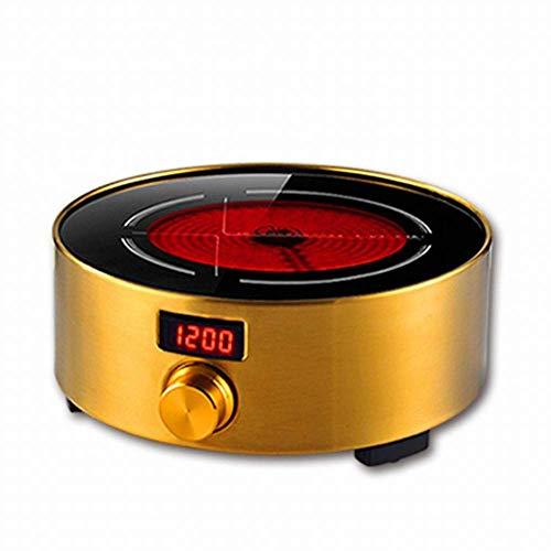 1yess Elektrischer Keramik-Tee-Herd stumm Light Wave Mini Small Tee Brewing Herd Induktionskocher Haushalt Induktionskocher, Gold, 1