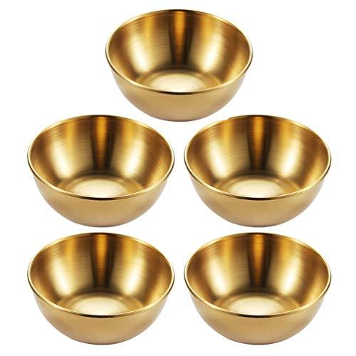 Cabilock 5 peças de aço inoxidável para molhos, pratos, condimentos, porção Ramekins, molhos para aperitivo, bandeja de servir pratos para molho de tomate, churrasco de soja