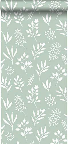 Tapete Blumenmuster im skandinavischen Stil Mintgrün und Weiß - 139085 - von ESTAhome.nl