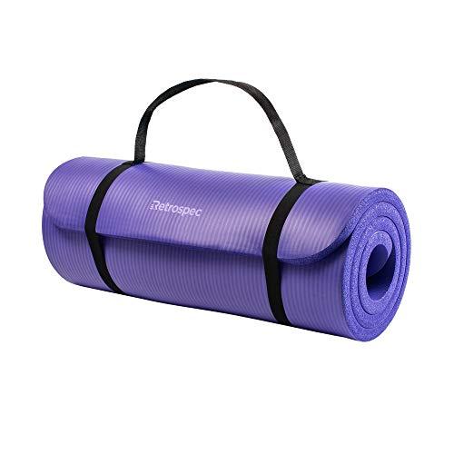 """Retrospec Solana Yoga Mat 1"""" Thick w/Nylon Strap for Men & Women - Non Slip Excercise Mat for Yoga, Ultra Violet, 1 inch (3419)"""