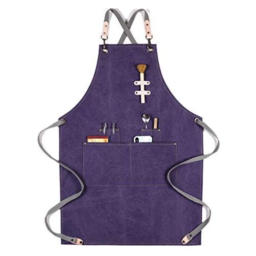 HAIJUN - Delantal unisex con espalda cruzada de trabajo, delantal de cocina, lona de algodón, con bolsillos