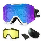 WLZP Maschera da Sci, Occhiali da Sci Intercambiabili Magnetici con 2 Lenti, Protezione Anti-Appannamento UV400 Occhiali da Snowboard Invernali con Occhiali da Snowboard
