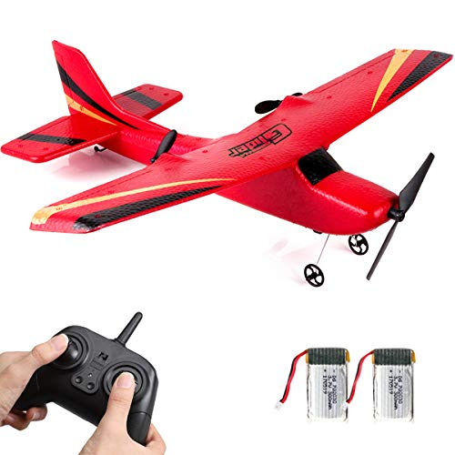 HAWK'S WORK 2 CH RC Airplane, RC Plane Ready to Fly, 2.4GHz Remote Control Airplane, Easy to Fly RC Glider for Kids & Beginners (Red)