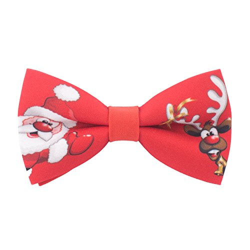 Red Bow tie pre-tied shape with Christmas Deer & Santa, by Bow Tie House (Large)