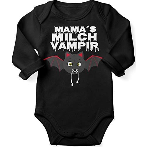 Mikalino Babybody mit Spruch für Jungen Mädchen Unisex Langarm Mamas Milch Vampir | handbedruckt in Deutschland | Handmade with Love, Farbe:schwarz, Grösse:68