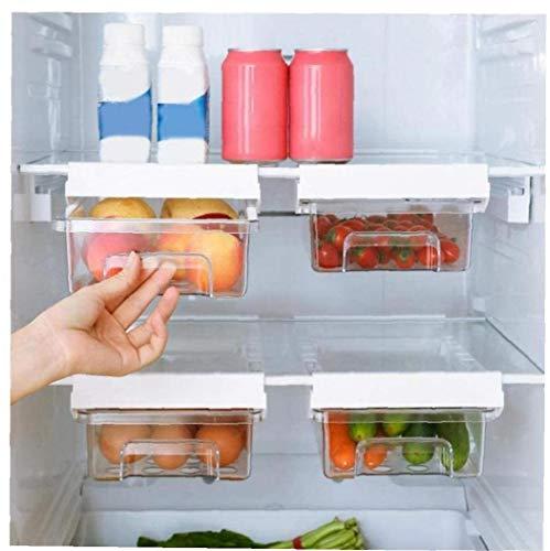 tJexePYK Pack de 3 Frigorífico Organizador Bins acrílico Transparente Refrigerador cajón Cajas con Huevo Cuba de Almacenamiento libremente Pullable Frigorífico Organizador Bin