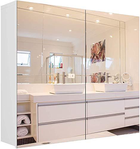 Armadietto a Specchio Mobile pensile con Specchio con 2 Ante a Specchio Mobile a Specchio per Bagno,specchiera Bagno da Parete con 2 Ante,Mobile Bagno con Specchio,mobili Bagno 70×15,3×59,7cm Bianco
