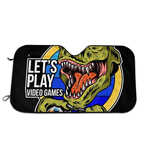 Universal Car Windshield Sun Shade Interior Protector Block Sun Heat Angry Dinosaur Gamer Which Play Game On Joystick Gamepad Controller for Arcade Video Game 51.2x27.5 Inch
