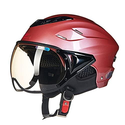 WEW Cascos Jet de Motocicleta para Adultos Scooter Moto Medio Casco ciclomotor Mofa Casco de Cara Abierta Cruiser Chopper Casco Protector para Hombres & Mujeres,1 tamaño, Rosa Plateado,55~60 cm,A