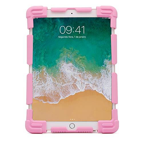 Capa Universal protetora para tablets 9-12 polegadas, Silicone, antichoque, base de apoio, Rosa, UN912P, Geonav, 240 x 173 x 18 mm