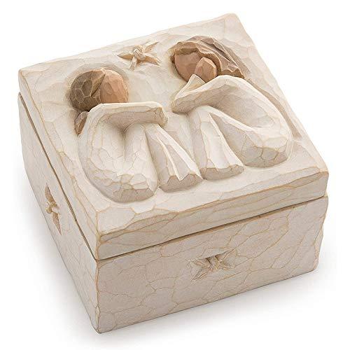 cherrypop Caja de recuerdos esculpida pintada a mano dentro de la parte inferior de la caja revela un mensaje de amor y amistad