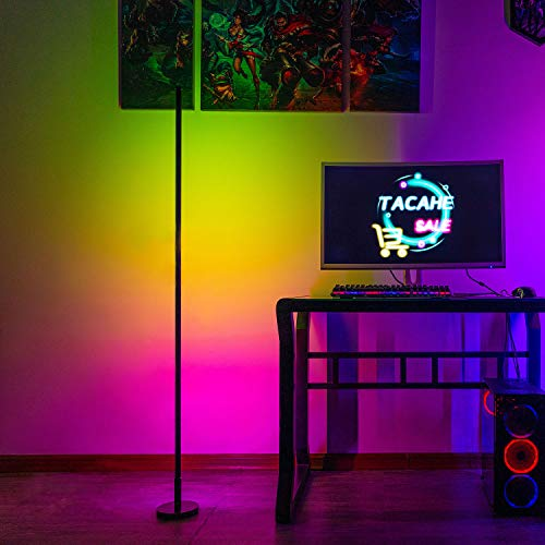 """TACAHE RGB Corner Floor Lamp - Color Changing Mood Lighting, Dimmable LED Tall Standing Lamp with Remote, Atmosphere Night Light for Gaming Room, 20W 58"""" - Black"""