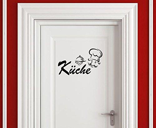 Dinger-Design Aufkleber Küche Koch Kochen Küchentür 25 x 15 cm schwarz