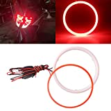 QasimLED 1 Pair 110MM 72SMD COB LED Angel Eyes Headlight Halo Ring Warning Lamps with Cotton plastic Cover Red 9-30V DC