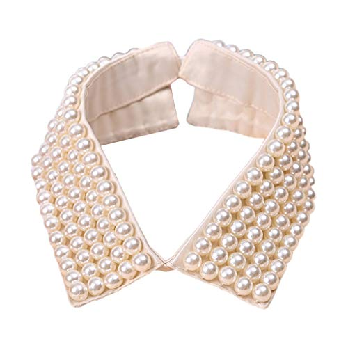 minansostey Women Retro Handmade Beading Faux Pearls Layers Bib Lapel Fake Collar Jewelry Detachable Necklace Choker Cloth Accessory