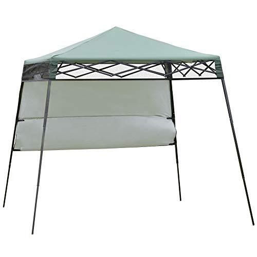 Outsunny Carpa Plegable 2,2x2,2x2m con Lateral Altura Ajustable Protección UV 50+ de Acero y Tela Oxford con Bolsa de Transporte Verde