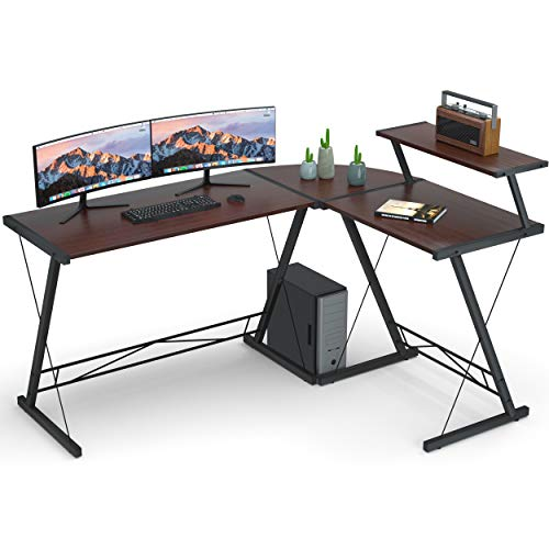 Reversible L Shaped Desk, 61' Home Office Desk with Round Corner.Coleshome Computer Desk with Large Monitor Stand,PC Table Workstation, African Walnut