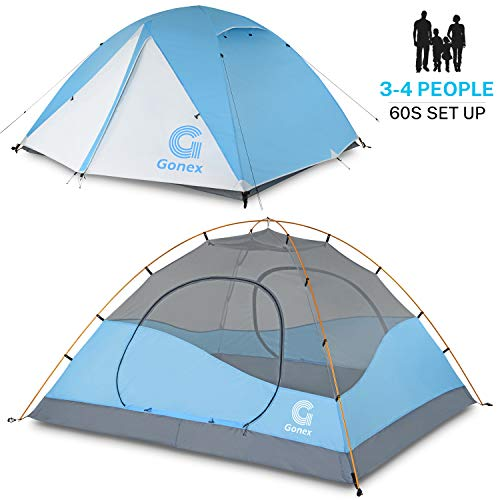 Gonex Camping Tent, 3-4 Person Dome Tent Windproof & Waterproof Camping Tent for 3 Seasons, Perfect for Camping, Hiking, Backpacking & Mountaineering, Easy Set Up