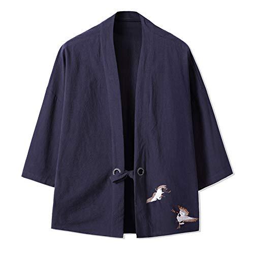 Kimono Cardigan para hombre, bordado japonés masculino Yukata para hombre Haori japonés Samurai ropa tradicional japonesa, azul marino-5XL