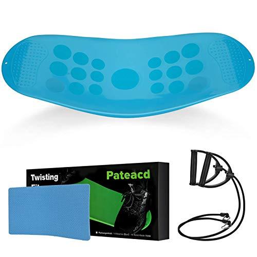 Sport Fitness Balance Board Set | Fit Board + rutschfeste Matte + 2 Resistance Bands, Kern, Bauch, Arme, Beine Workout - Verbessern Balance mit Twist Fitnessgeräte für Zuhause,Blau