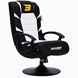 White gaming chair with speakers: perfect for any gamer, it comes with two speakers and one subwoofer. Compatible with most devices that have an audio output, including all variations of PlayStation (PS4), PC, Nintendo, and Xbox (Xbox One, Xbox 360) ...