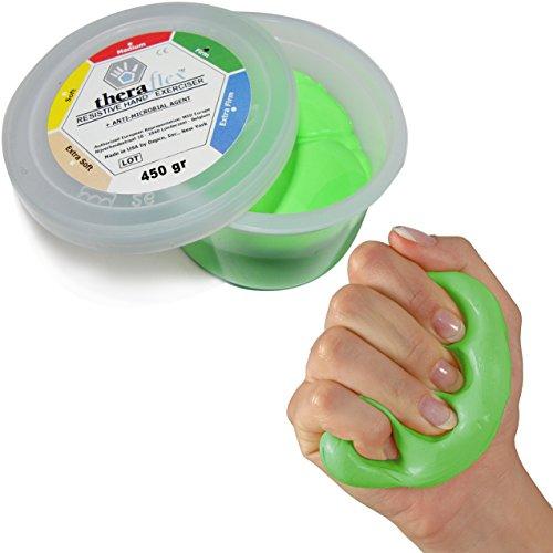 Theraflex Therapie-Knetmasse Therapieknete Therapie Knete Strong: 450 g, Grün